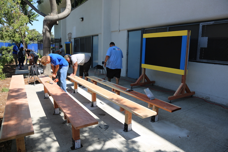 Inspired - Built three outdoor classrooms with mobile chalkboards and seating for outdoor learning.