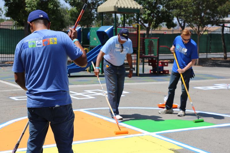 Revitalized - Redid outdoor play areas including painting the four square courts and updating the softball field to accommodate soccer and other field sports.