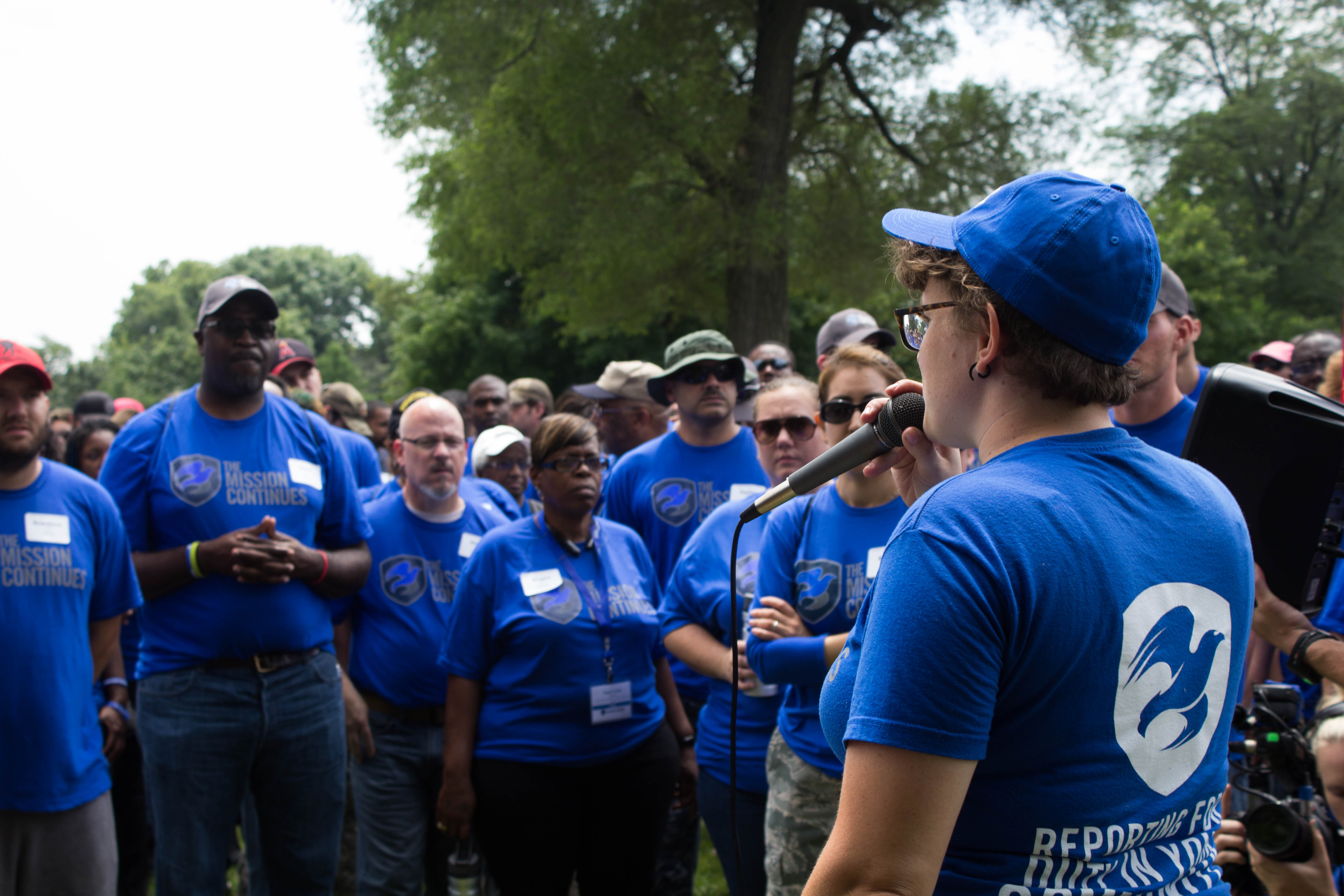 Jessica addresses volunteers at a service project,  July 2015.