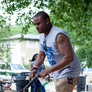 AJ volunteering at Mattie Freeland Park on June 10, 2017