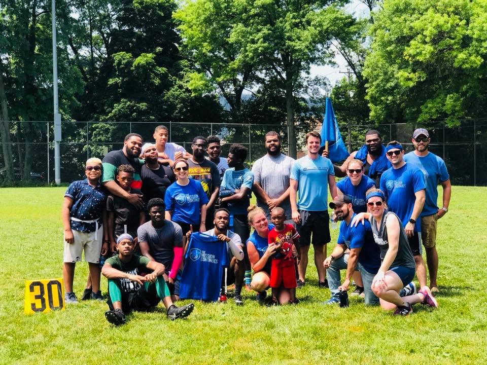 The Hazelwood Platoon in Pittsburgh organized a flag football game with the Hazelwood Cobras youth football organization.